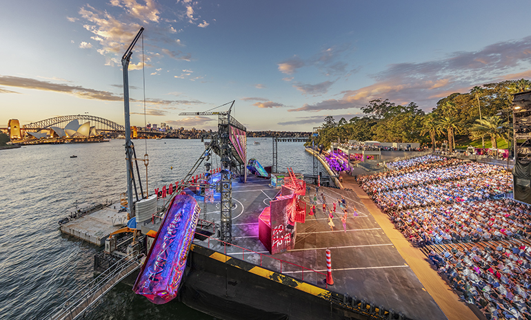 The stage and grandstand at West Side Story on Sydney          Harbour