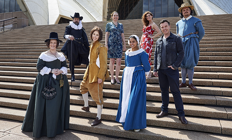 Cast members of the Marriage of Figaro on the steps of Sydney Opera House