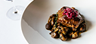 Slow cooked beef rump, chestnuts and brown mushroom, red cabbage compote,                Grand-Veneur sauce.