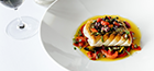 Pan fried red snapper, mussels and saffron consommé, grilled red peppers                black olive and capers tapenade.