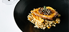 Smoked duck breast with barley risotto and pumpkin, onion marmalade, toasted                sesame seeds.
