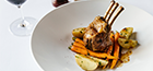 Roast lamb rack, butter braised carrots, parsley potato, and Pedro Ximenez                wine reduction.