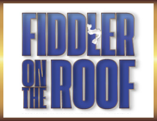 Blue text that reads Fiddler on the Roof