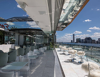 The rooftop terrace of the Emporium Hotel in Brisbane