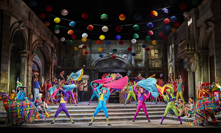 Dancers in colorful costumes in the opera production Carmen