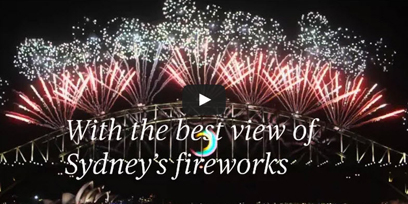 The fireworks over the Sydney Harbour Bridge on New Year's Eve with a YouTube play button on it.