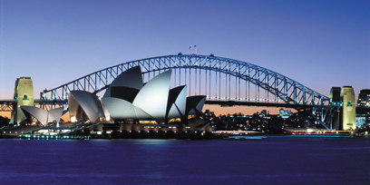 Sydney Opera House and Harbour Bridge at night