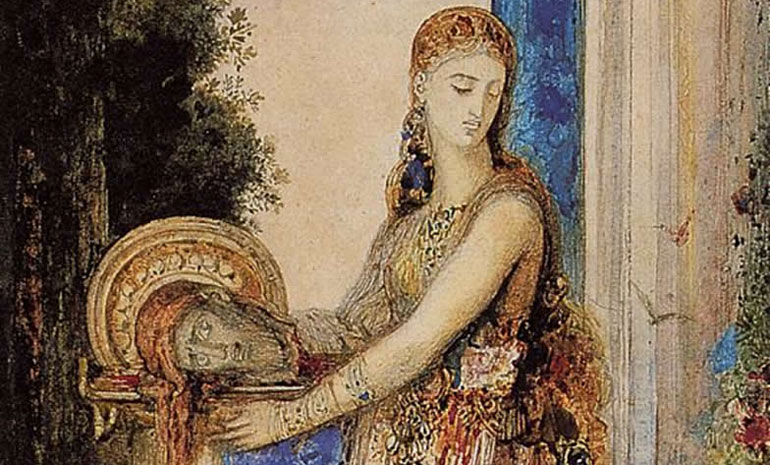 a painting of salome holding John the Baptist's head by artist Gustav Moreau