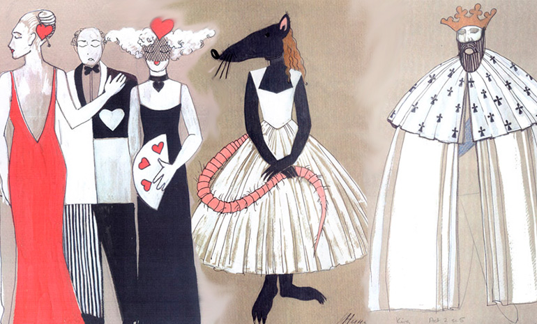 costume drawings for The Love for Three Oranges