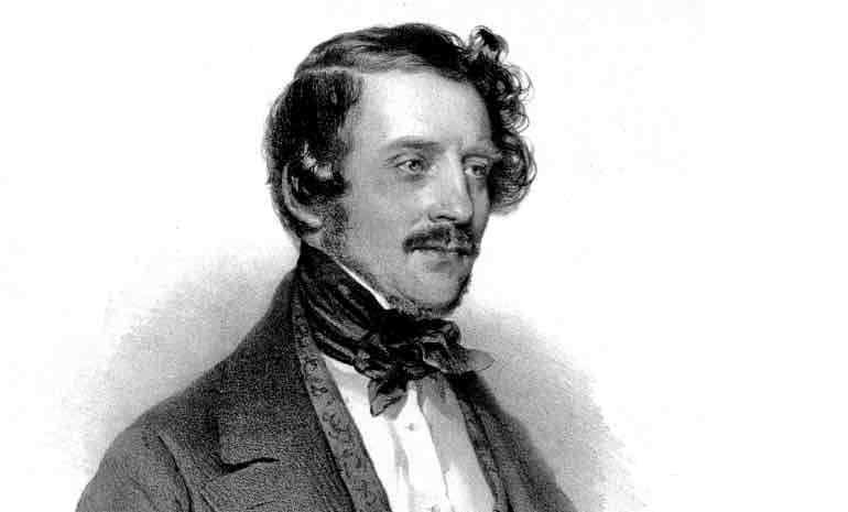 A line portrait of Gaetano Donizetti