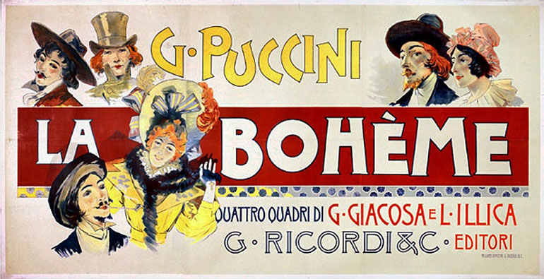 an original illustrated poster for La Boheme by Adolfo Hohenstein
