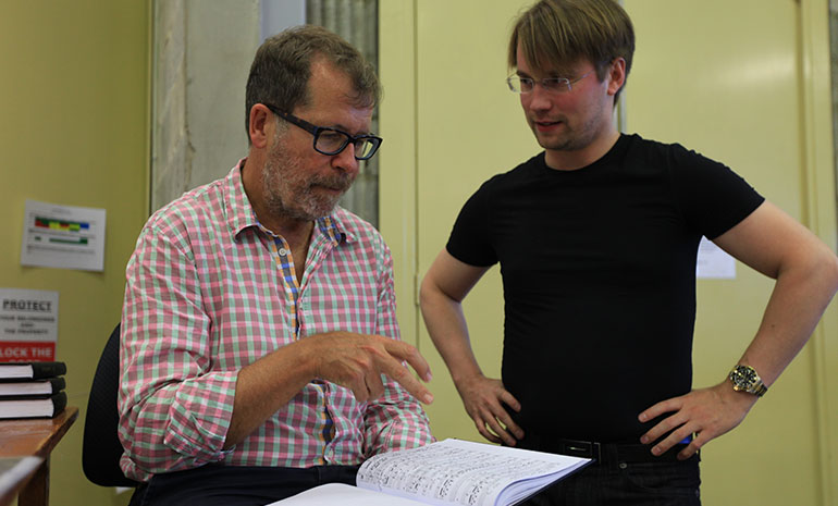 Neil Armfield works with conductor Pietari Inkinen in rehearsals for the Melbourne Ring Cycle, 2013.