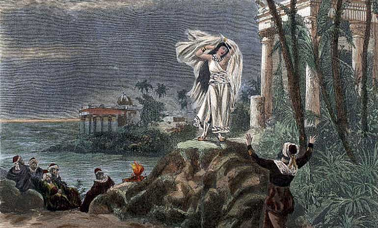 Illustration for the final scene of act 1 (duet of Leïla and Nadir) in the opera Les pêcheurs de perles by Georges Bizet, as produced at La Scala on 20 March 1886, the Milan premiere
