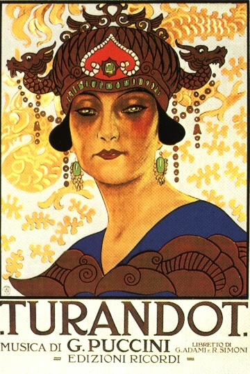 A historic poster for Turandot