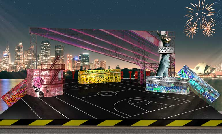 A render image of the set design for West Side Story on Sydney Harbour