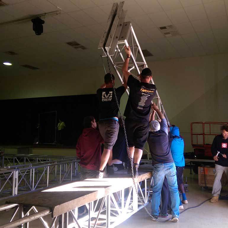 Stage crew building set in Tennant Creek