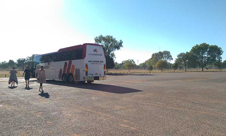 tour bus arrives in Katherine