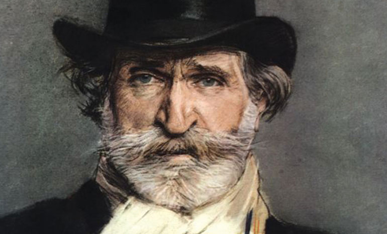 A portrait of composer Giuseppe Verdi. He wears a top hat and cravat.