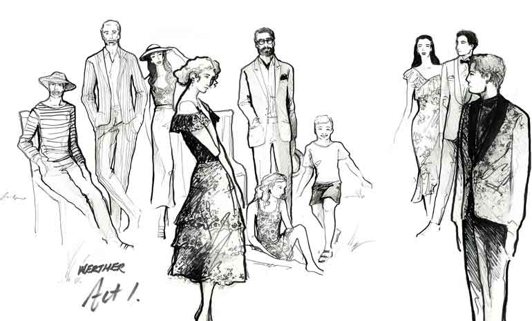 Costume sketches for Werther