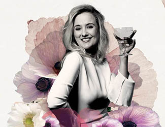 Opera singer, Taryn Fiebig, smiles at the camera, surrounded by images of flowers, holding a cocktail glass.