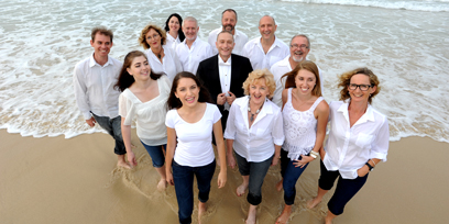 Gold Coast community choir with conductor Simon Kenway on Greenmount Beach