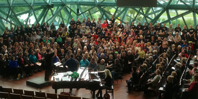 Massed choir rehearsal at The Edge