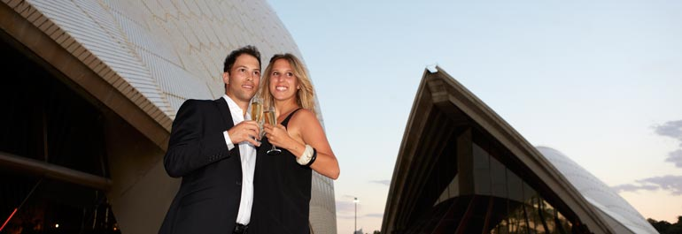 champagne at Sydney Opera House